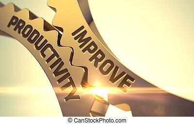 melhorar, produtividade, concept., dourado, metálico, dente, gears., 3d.