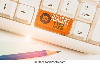 melhorar, saudável, conceitual, acima, papel, mão, nota, s, negócio, ajudas, um, ou, foto, teclado, escrita, life., mantenha, condição saúde, mostrando, experiência., showcasing, branca, pc