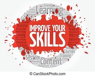 melhorar, seu, habilidades, círculo, palavra, nuvem