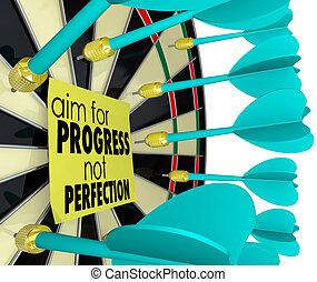 melhoria, objetivo, perfeição, não, progresso, junta dardo