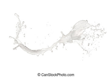 melk, gespetter, vrijstaand, op wit, achtergrond