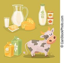 melk, houten, vector, zuivelproducten, tafel, pictogram