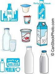 melk producten, spotprent, dranken