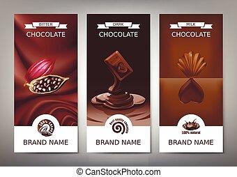 melk, set, verticaal, chocolade, donker, realistisch, vector, banieren, bitter