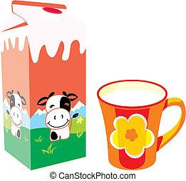 melk, vrijstaand, doosje, karton, mok
