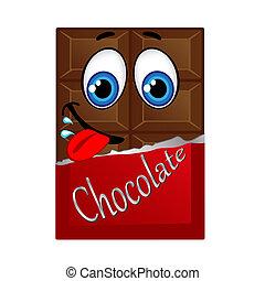 melken schokolade, mit, augenpaar, und, lächeln