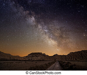 melkweg, op, de, woestijn