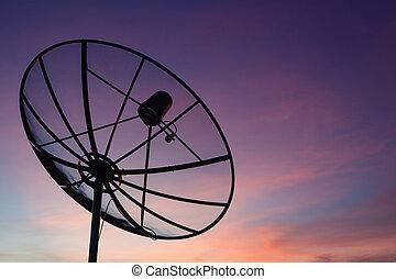 mellékbolygó, hálózat, kommunikáció, ég, napnyugta, tál, technológia