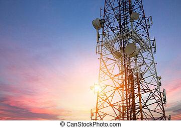 mellékbolygó, hálózat, telecom, kommunikáció, technolog, napnyugta, tál