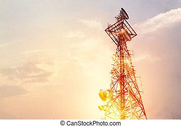 mellékbolygó, híradástechnika, antenna, elvont, ég, napnyugta, háttér, tál, bástya