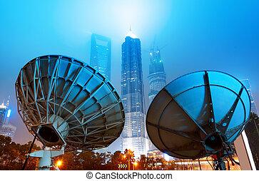 mellékbolygó, shanghai's, felhőkarcoló, antenna.