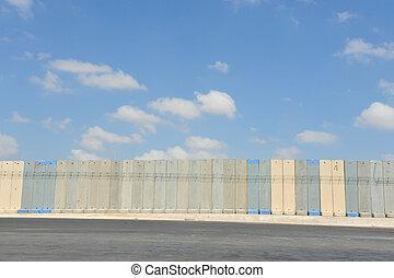 mellanrum, vägg, gaza, israel