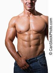 mellemst sektion, i, en, shirtless, muskuløse, mand