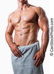 mellemst sektion, i, en, shirtless, muskuløse, mand, ind,...