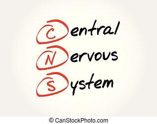 mellerst, cns, akronym, nervös, -, system