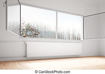 mellerst, vägg, fäst, uppvärmning, fönstren, öppna