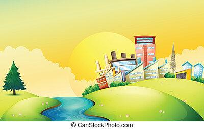 mellett, gyárak, folyó, folyó