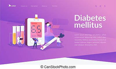 mellitus, conceito, página, aterragem, diabetes