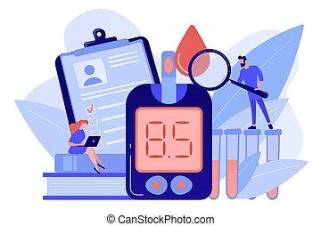 mellitus, diabetes, illustration., conceito, vetorial