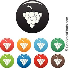 Mellow grape icons set color vector - Mellow grape icon....