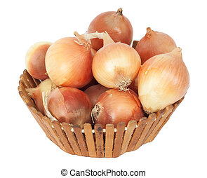 Mellow onions in wooden basket on a white background