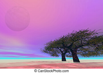 MELLOW - Surreal fantasy landscape with a large moon.