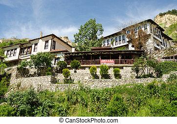 melnik, arquitectura, tradicional, calle, bulgaria, vista
