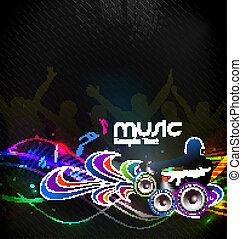 melodias, dj, tocando, homem