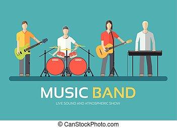 melodic, 網, プロダクト, ∥あるいは∥, コンサート, アイコン, モビール, concept., イラスト, musicians., 平ら, 音楽的な バンド, アプリケーション, デザイン, 背景, 音楽, あなたの, 四つ組