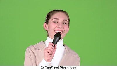 melodic, chante, song., écran, gai, vert, girl