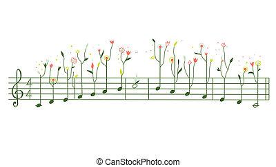 melodie, mit, blumen, -, gamma, abbildung, reizend, design