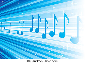 Melody from heaven - Blue background with music notes on...