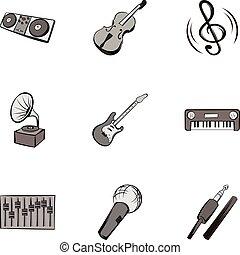 Melody icons set, gray monochrome style