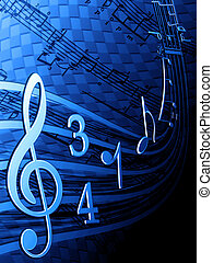 Illustration of musical notes on a blue background