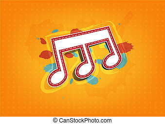 melody note label with ink paint background