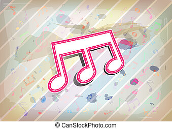 melody note label with pastel background