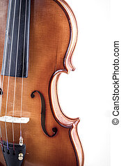 Melody, Violin front view isolated on white, vintage
