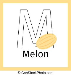 Melon and letter M coloring page