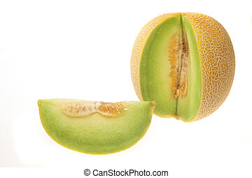 Melon and section - Galia melon with slice cut out isolated...