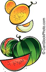 Fresh Melon and Watermelon