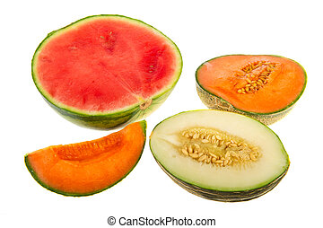 Various assortment of melon parts isolated over white background