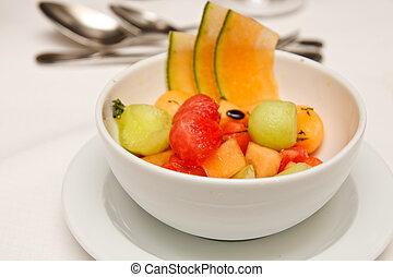 Melon Balls in a White Bowl