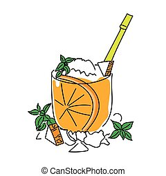 Melon cocktail with rum and orange. Sketch. Vector illustration.