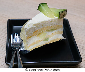 melon, gâteau, plat