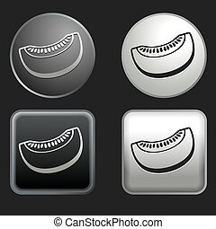 melon icon on round and square buttons
