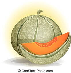 Illustration of an appetizing melon character, with a separated quarter