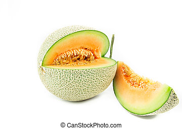 Melon isolated on white background - Melon isolated on white...