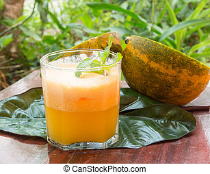 melon juice - melon smoothie in a glass