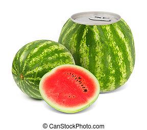 Melon juice - Photo of can with fruit - melon juice concept