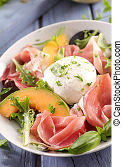 melon, mozzarella and prosciutto ham salad